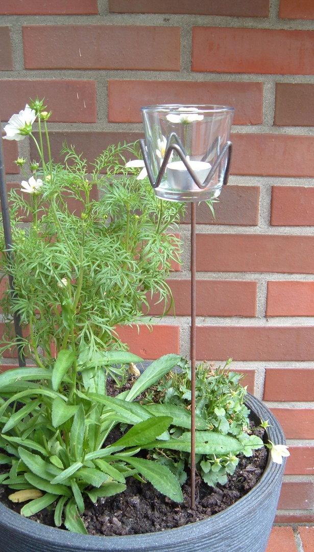 teelichthalter gezackt einfach gartenstecker windlicht aus metall mit glas ohner dorfschmiede. Black Bedroom Furniture Sets. Home Design Ideas