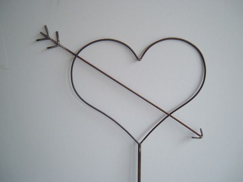 Heart with love arrow Decoration from metal Handwork with Love Cupid's arrow