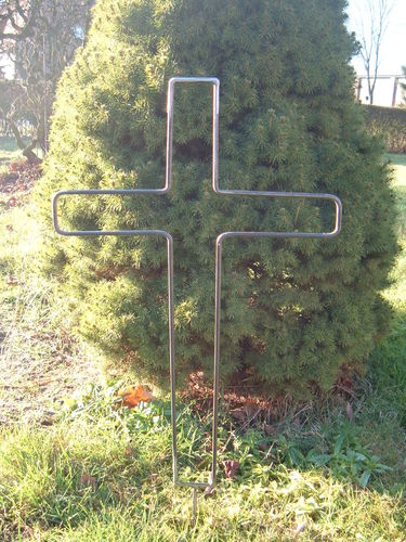 Cross of metal 6 mm round iron with stick for the cemetery to remember for decoration handwork