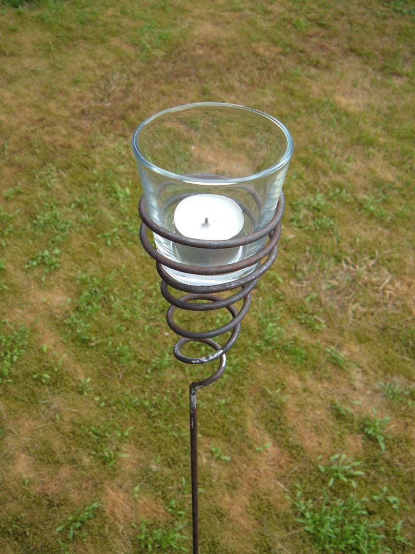 Tealight Holder Turned Garden Lamp Windlight Metal Garden Torch with glass