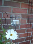 Tealight holder turned simple Gardening light Windlight made of metal with glass