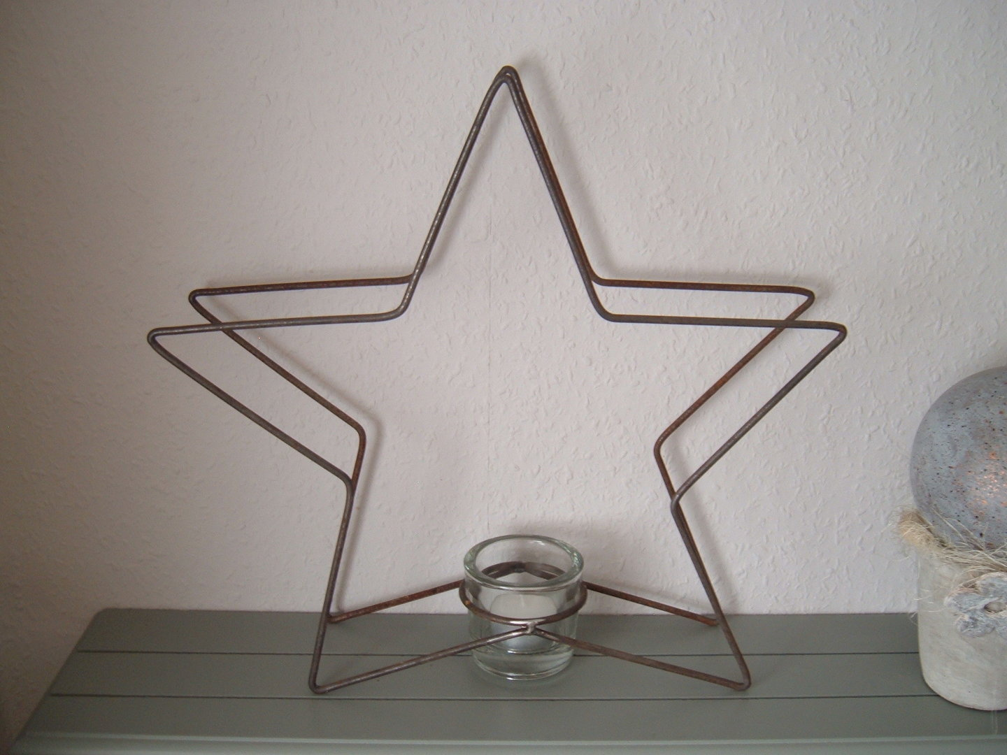 Tealight holder incl. Glass Christmas star Christmas decoration