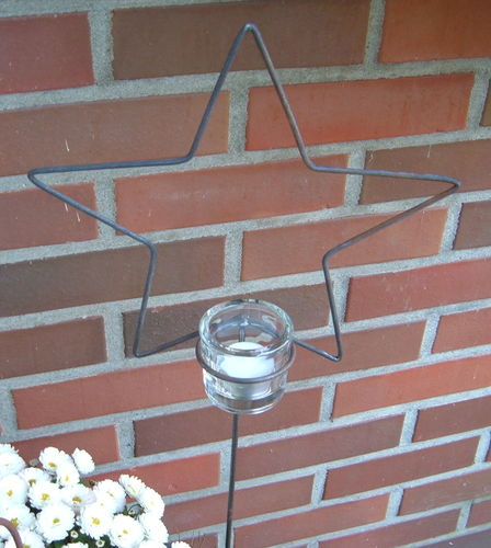 Tealight holder star made of metal incl. Glass for tealights